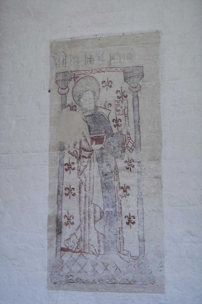 Kalkmaleri Østrup Kirke -1. descipel Peter - vandrer igennem lande efter Jesu død https://www.oestrup-skeby-gerskov-kirker.dk