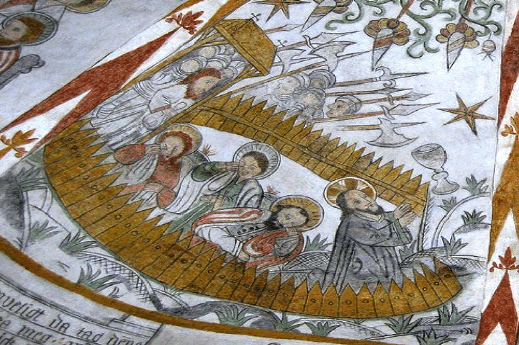 Kalkmaleri Bønnen i Getsemane have