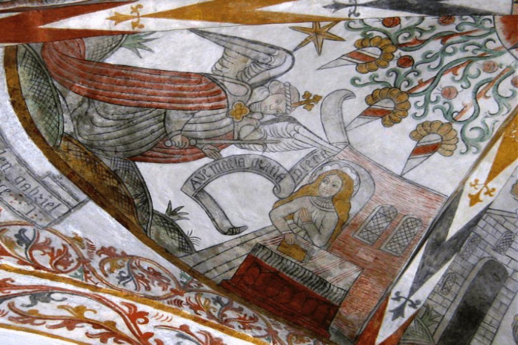 Kalkmaleri - Faste og Marias bebudelse - Englens bebudelse