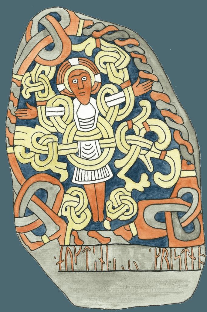 Jellingstenen med Kristus som kongen, der hænger på livets træ