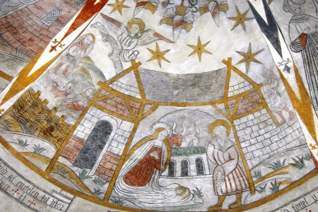 Kalkmaleri Østrup Kirke - Jesu fødsel