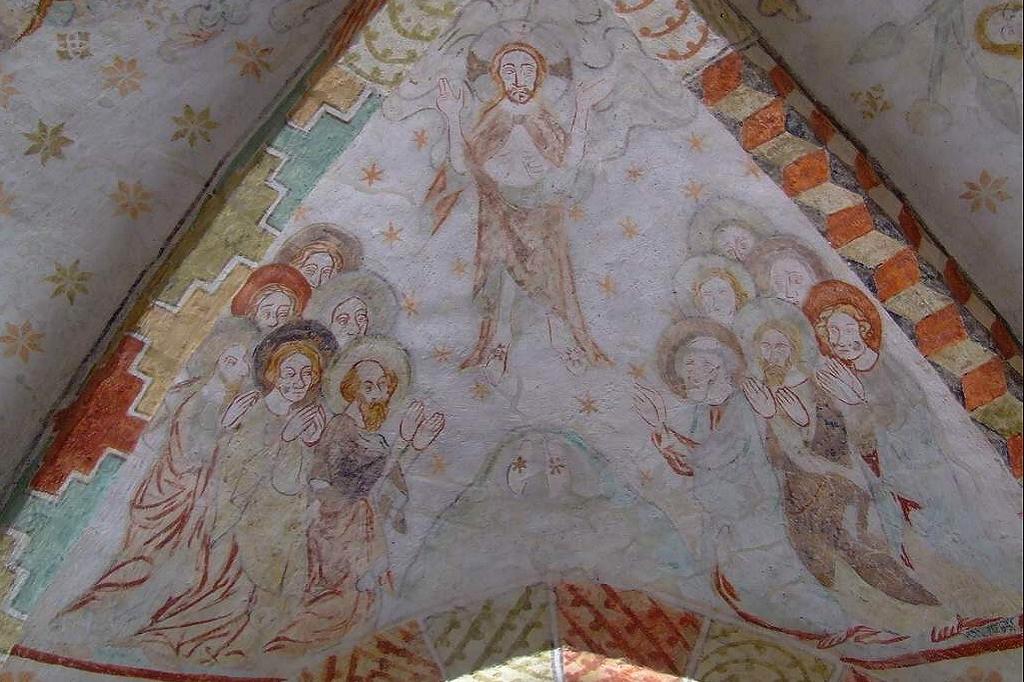 Kalkmaleri Kristi Himmelfart