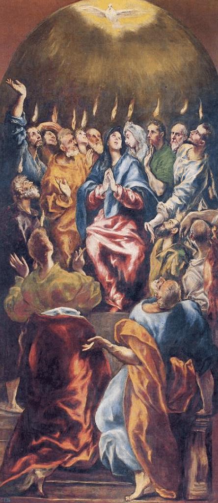 Pinse Maleren El Grecos billede https://www.oestrup-skeby-gerskov-kirker.dk/handlinger/pinsen-helligaand-treenighed